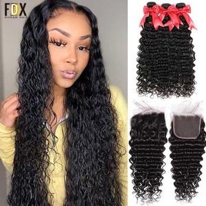 FDX Deep Wave Bundles With Closure Brazilian Hair Weave Bundles 28 30 32 34Inch Remy Human Hair Bundles 6x6 Closure With Bundles