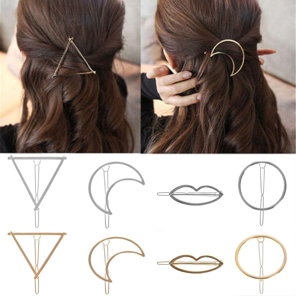 Fashion Alloy Hair Clips For Woman Girls Geometric Metal Hairband Moon Triangle Circle Hairgrip Barrettes Hair Accessories