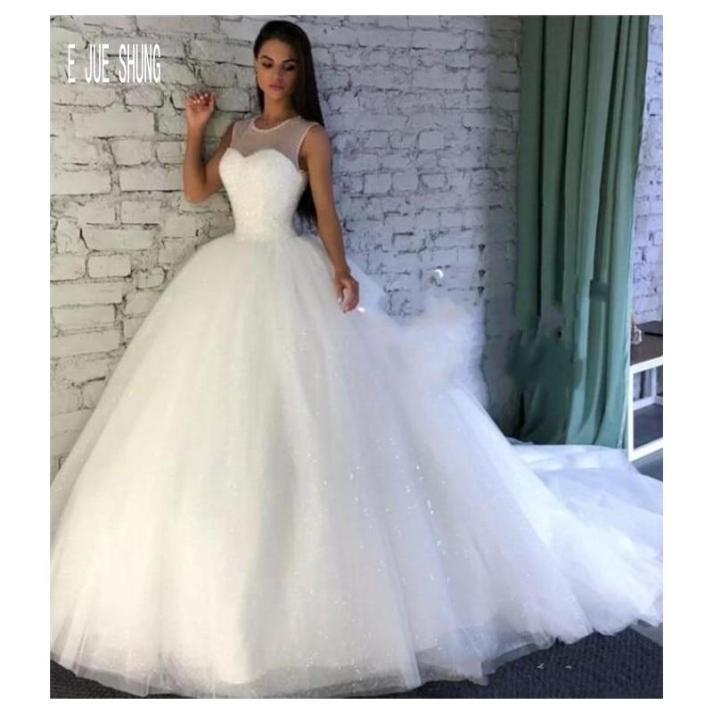 E JUE SHUNG Glitter Ball Gown Wedding Dresses Jewel Neck Sleeveless Lace Up Sequin Puffy Skirt Wedding Gowns Vestido De Noiva
