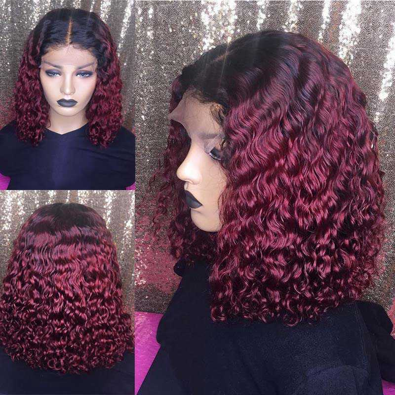 150 Density Ombre Color Short Curly 1B T 99J Lace Front Human Hair Wigs With Baby Hair Pre Plucked Remy Brazilian Lace Bob Wigs