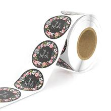 500pcs Floral Stickers Paper Thank You Label Boutique Bags Round handmade sticker