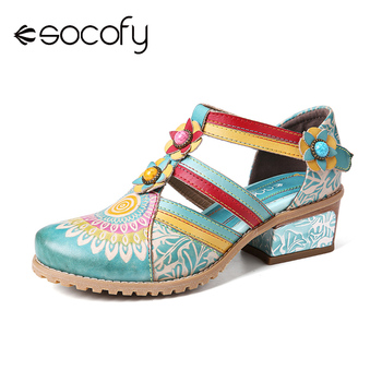 SOCOFY Retro Bohemia Ethnic Style Stitching Embossed Beading Floral Chunky Heel Sandals Pumps Women Shoes Botas Mujer 2020