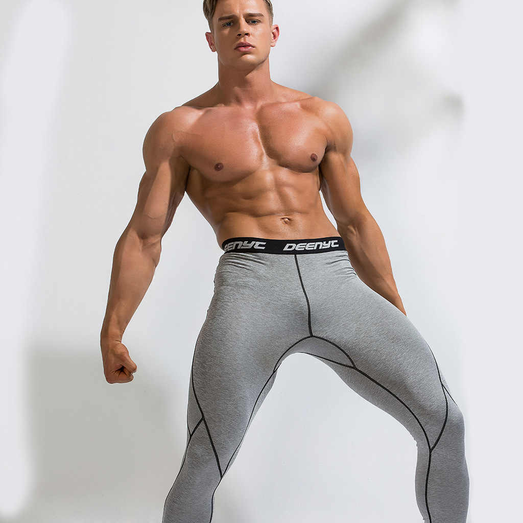 Men Compression Running Tights Gym Leggings Fitness Sportswear Male Workout Training Quick Dry Leggings  Bodybuilding Pants