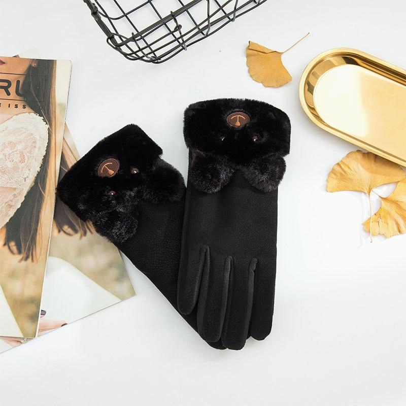 Women Gloves Winter Touch Screen 2022 Female Suede Furry Warm Full Finger Gloves Lady Winter Outdoor Sport Driving Women Gloves