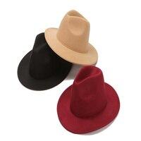 Sombrero de ala ancha para hombre y mujer, sombrero Formal de Otoño, para boda, Camel, blanco y negro, Fedora clásica de fieltro, sombreros de Jazz para invierno