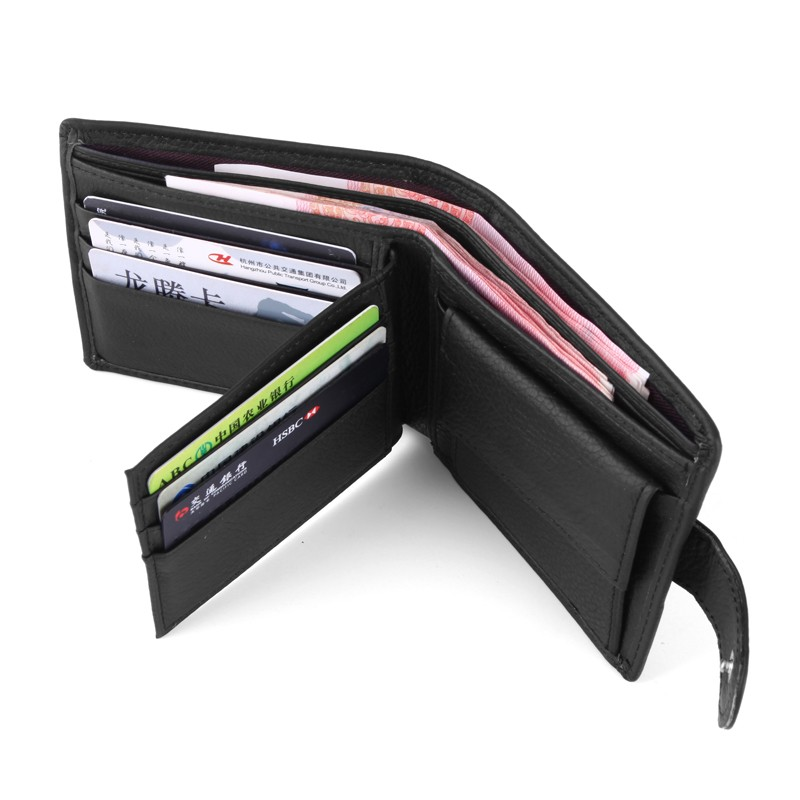 High Quality Genuine Leather Wallet Men Leather Coin Purse Men's  Brand Short Card Holder Wallet  Male Trifold Money Bag