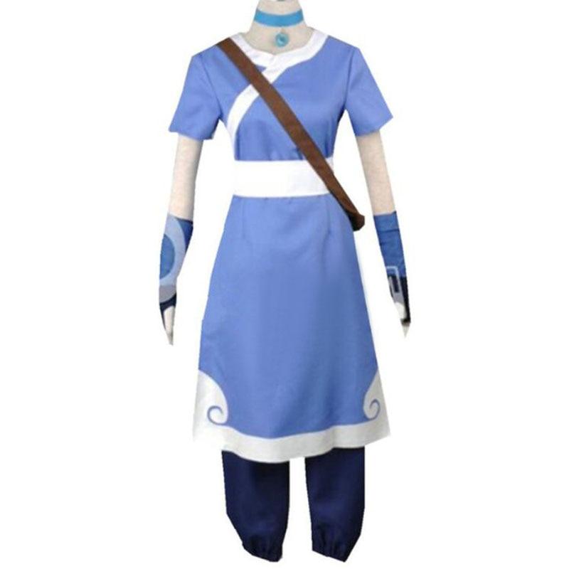 New Avatar The Last Airbender Katara men Cosplay Costume Halloween cosplay women costumes and wigs custom made size