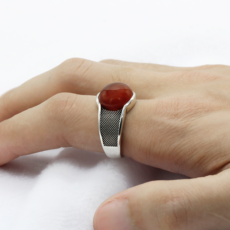 Image 5 - New Natural Onyx Stone Ring For Men Solid 925 Sterling Silver  Thai Silver Red Semi precious Stone Men Ring Turkish JewelryRings   -