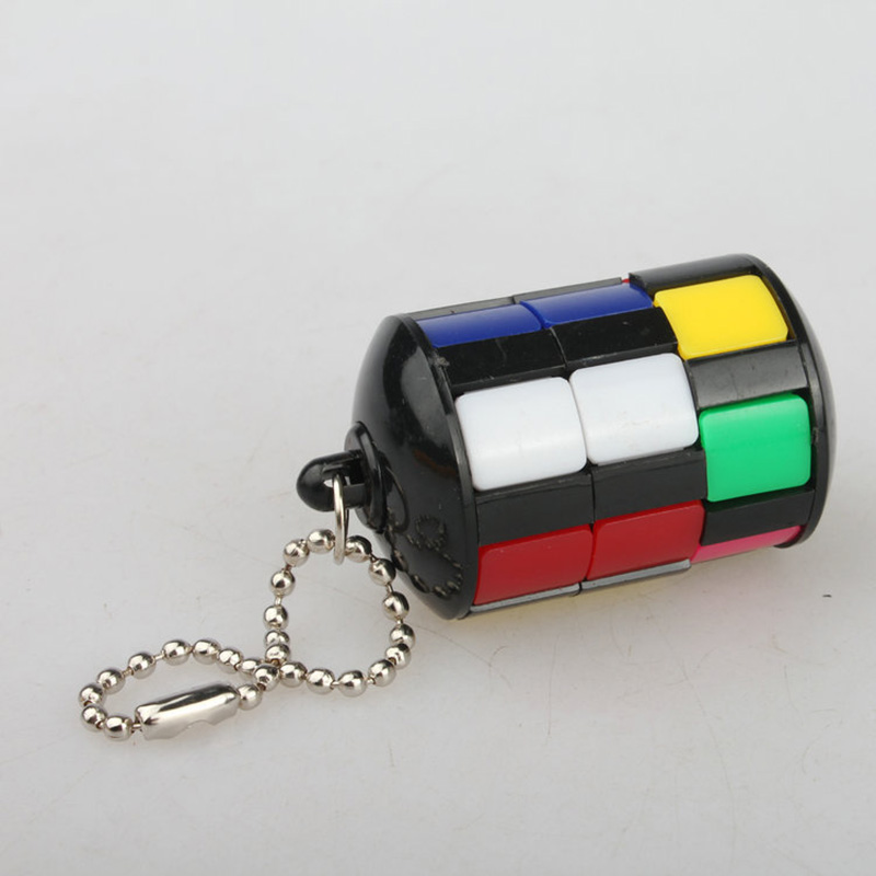 1pc Anti-stress Puzzles кубик рубика Mini Magic Cube with Keychain Educational Jigsaw Kids Toys Smart Tower Games Children Gifts(China)