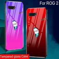 Градиентные чехлы для телефонов из закаленного стекла для Asus ROG Phone 2, Мягкая силиконовая задняя крышка для Asus ROG Phone II ROG Phone 2, чехлы