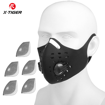 X-TIGER Cycling Face Mask PM 2.5 Bike Mask Activated Carbon Breathing Valve Sports Masks With Anti-Pollution Filter 30