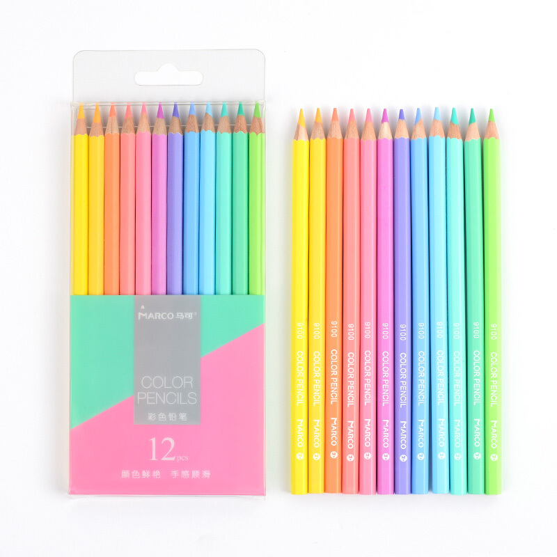 Andstal Marco 12/24 NEW Soft Trendy Pastel Colors Non-toxic Color Pencil Lapis De Cor Colored Pencils For School Supplies Kids