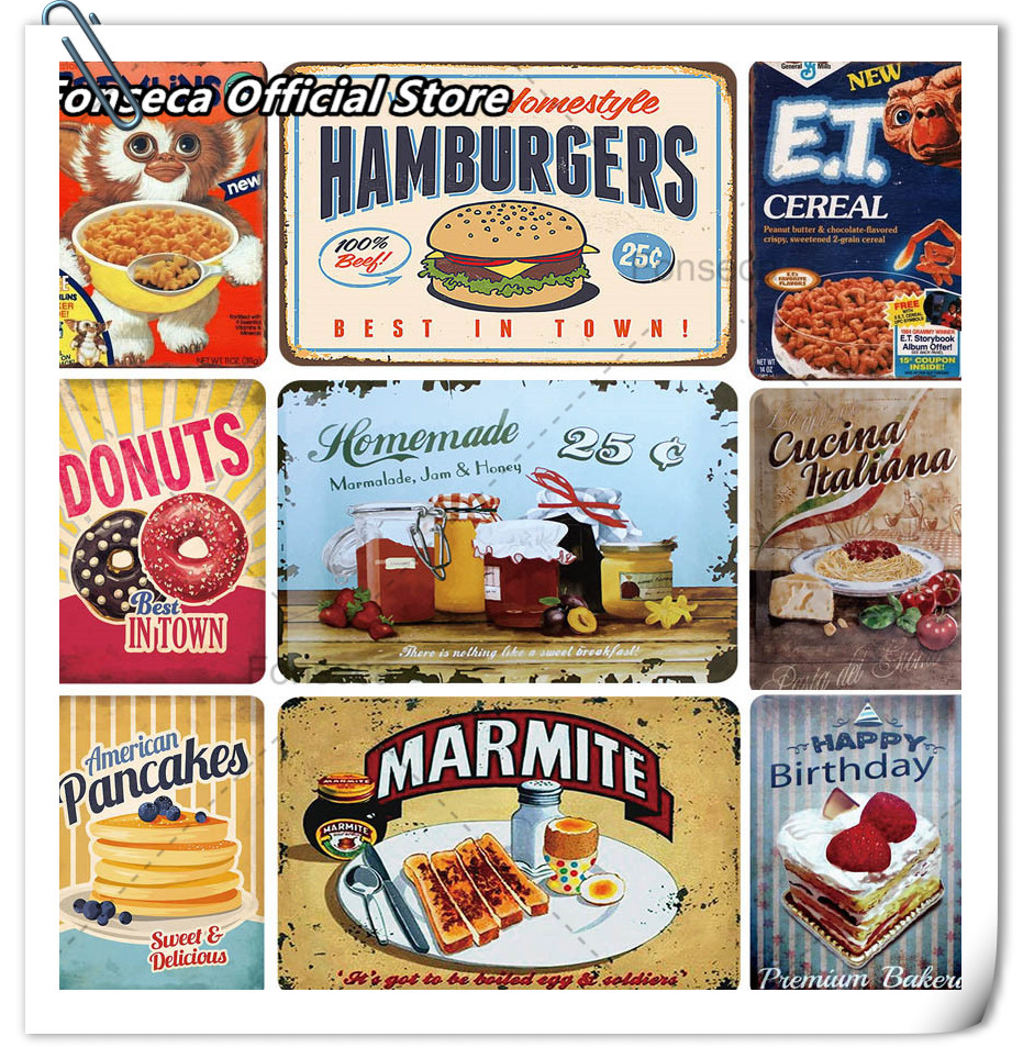 US $19.19 19% OFFDelicious Fast Food Hamburger Pictures Restaurant Kictchen  Metal Tin Sign Plaque Vintage Iron Painting Wall Home DecorationPainting