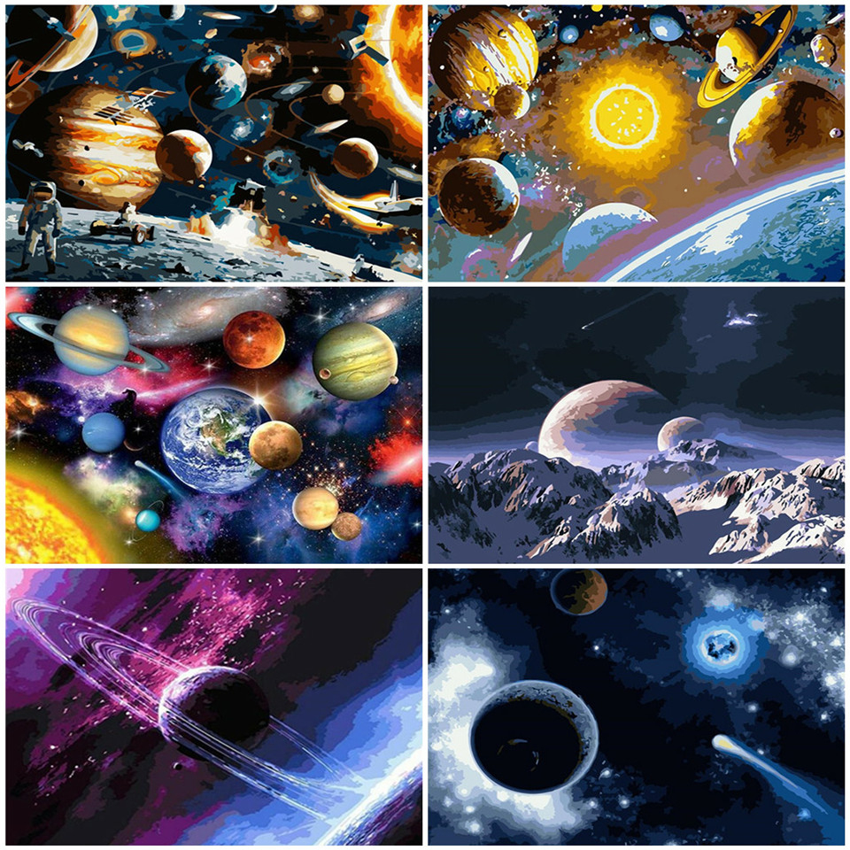 AZQSD Oil Painting By Number Planet DIY Wall Art Picture For Living Room Home Decor Coloring By Numbers Landscape Unique Gift