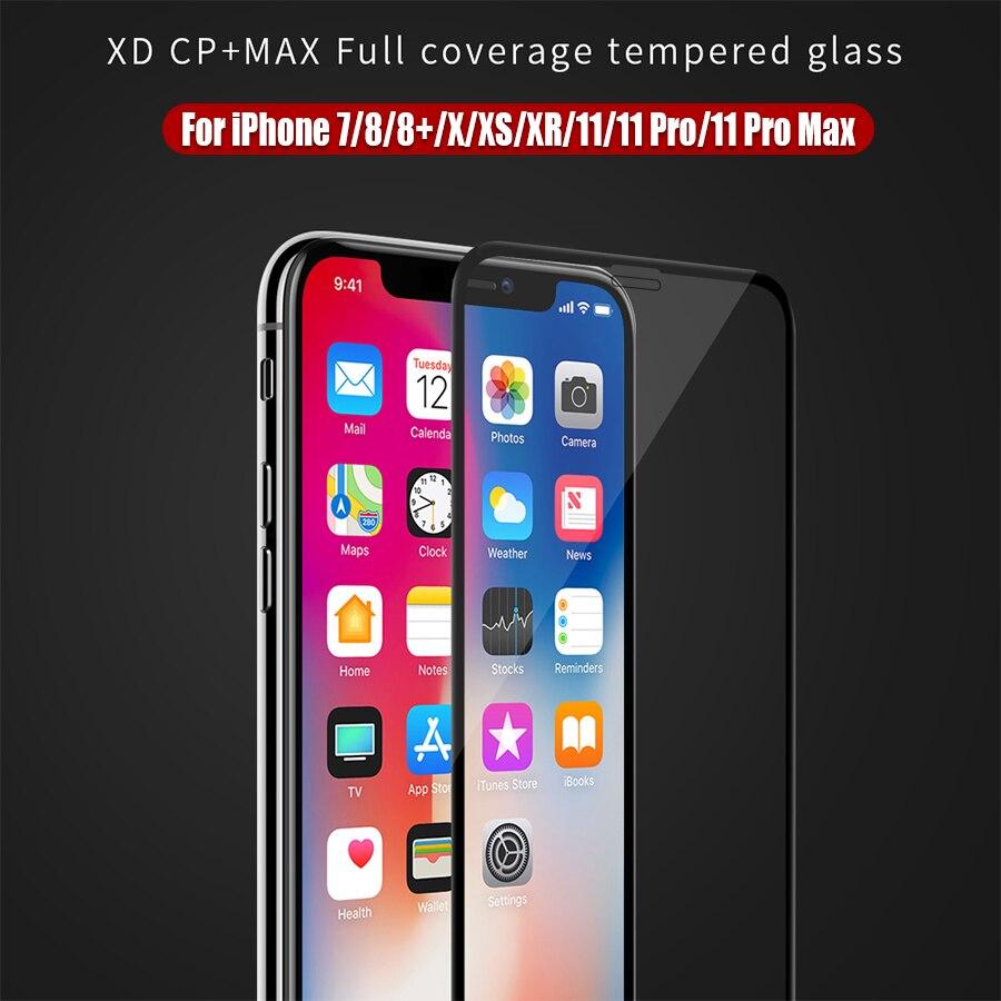 Protetor de tela antiofuscante nillkin xd para o iphone x xr xs max 11 8 mais segurança 3d protetor de vidro temperado para o iphone xs vidro