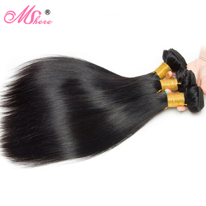 Image 2 - Peruvian Straight Hair With Lace Closure Free Part 4PCS Human Hair Bundles With Closure Mshere Hair Non Remy Hair Extensions 1B
