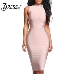 Image 1 - INDRESSME Midi Women Bandage Party Summer Dress Fashion Turtleneck Sleeveless Bodycon Dress Vestidos Wholesale 2020