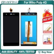 جديد الأصلي ل Wiko اللب 4 جرام LCD و محول الأرقام بشاشة تعمل بلمس مع الإطار وحدة شاشة عرض الملحقات الجمعية استبدال أدوات