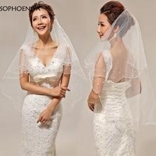 Модная недорогая короткая свадебная вуаль цвета слоновой кости, дешевые свадебные аксессуары, вуаль для свадьбы Abendkleider sluier