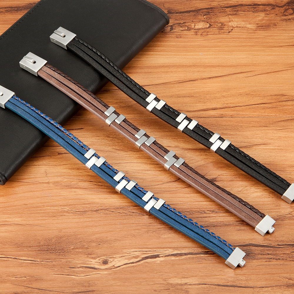 Black Brown Blue Color Three-Layer Stitching Accessories Stainless Steel Men's Leather Bracelet Advanced Design Style Gift