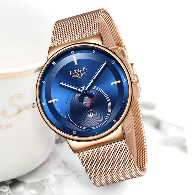 2020 LIGE New Womens Watch Top Luxury Blue Fashion Watch Women Mesh Waterproof Clock Slim Quartz Ladies Watch Relogio Feminino
