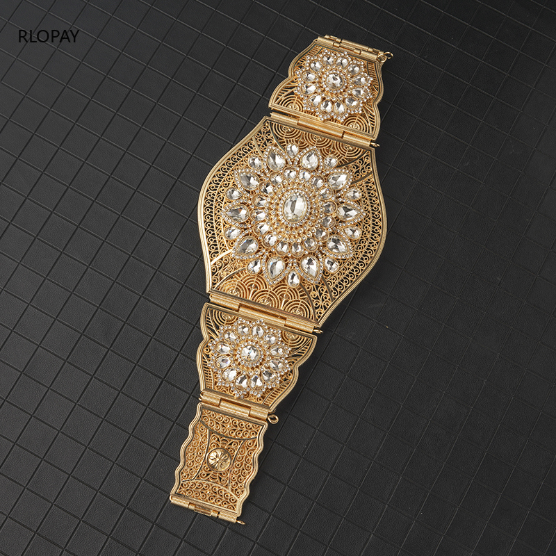 RLOPAY Wide Wedding Belts In Gold Adjustable Chain Bridal Belt Rhinestone  Luxury Arabic Bridal Accessories Big Size