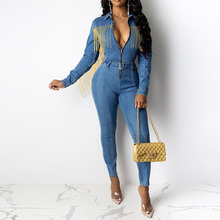 Sexy V Neck Tassel Long Sleeve Jeans Jumpsuit Rompers Women Overalls Party Plus Size Autumn Winter Bodycon Denim Long Jumpsuits stylish v neck long sleeve blue denim women s jumpsuit