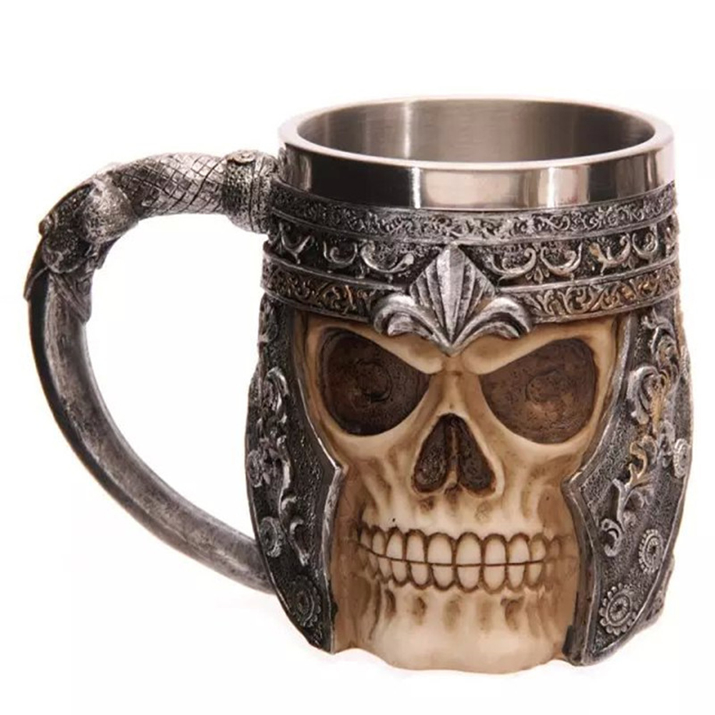 600ML Skull Knight Tea Coffee Beer Cup Viking Retro Resin Stainless Steel Mug for Pub Bar Office Decoration Drinking Accessories