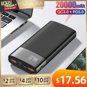 "Image 1 - KUULAA כוח בנק 20000 mAh QC פ""ד 3.0 PoverBank מהיר טעינת PowerBank 20000 mAh USB חיצוני סוללה מטען עבור Xiaomi mi 10 9"