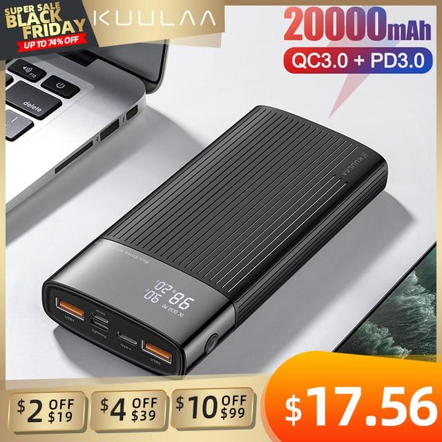 "KUULAA כוח בנק 20000 mAh QC פ""ד 3.0 PoverBank מהיר טעינת PowerBank 20000 mAh USB חיצוני סוללה מטען עבור Xiaomi mi 10 9"