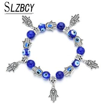 """Kobiety niebieskie tureckie bransoletka """" urok złych oczu """"Femme Pulsera Fatima ręcznie kryształowe koraliki elastyczna bransoletka moda biżuteria urodziny"""