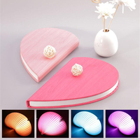 Book Lamp LED Notebook Lamp Creative Heart Shaped USB Charging Folding Gift Lamp Color Decoration Lamp Home Decor Dropshipping