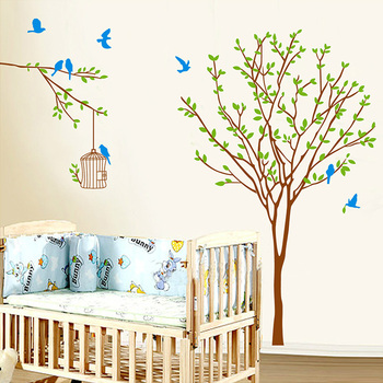 Green Tree Bird Cage Wall Stickers Living Room Kids Bedroom Wall Decor Birdcage Decoration Vinyl Poster Sticker Leather Bag