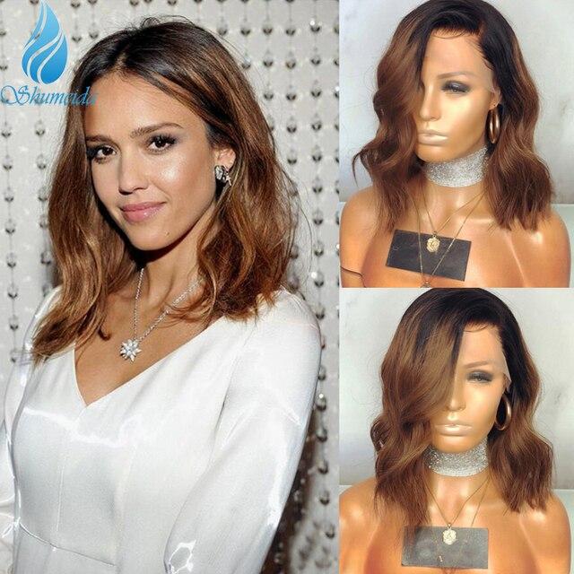 Pelucas frontales de encaje degradado de 13x6 colores cabello brasileño ondulado, Remy, encaje sin pegamento, cabello humano, encaje completo