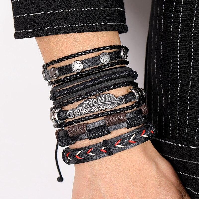 DAXI Mens Leather Bracelet Bracelets For Men Vintage Braclets Handmade Feather Leaf Bracelet Men Jewelry Adjustable Bracelet Set