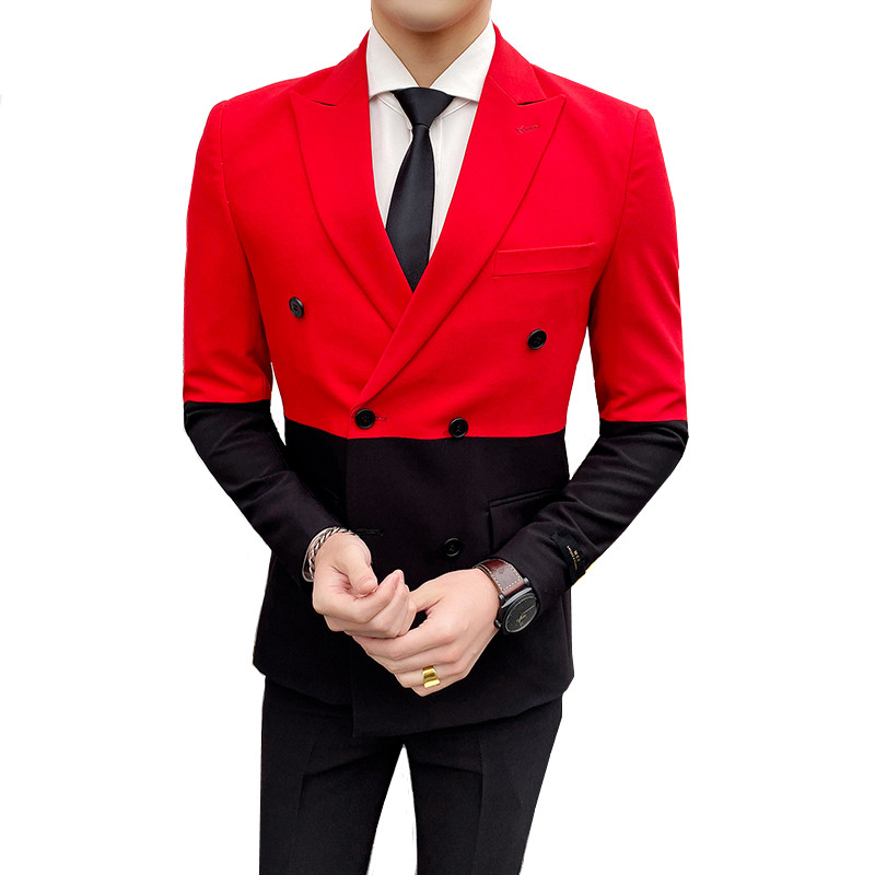Stitching Double-breasted Men's Suit Suit Hit Color British Style Banquet Urban Trend Fashion Suit Suit Lapel Wedding Blazer