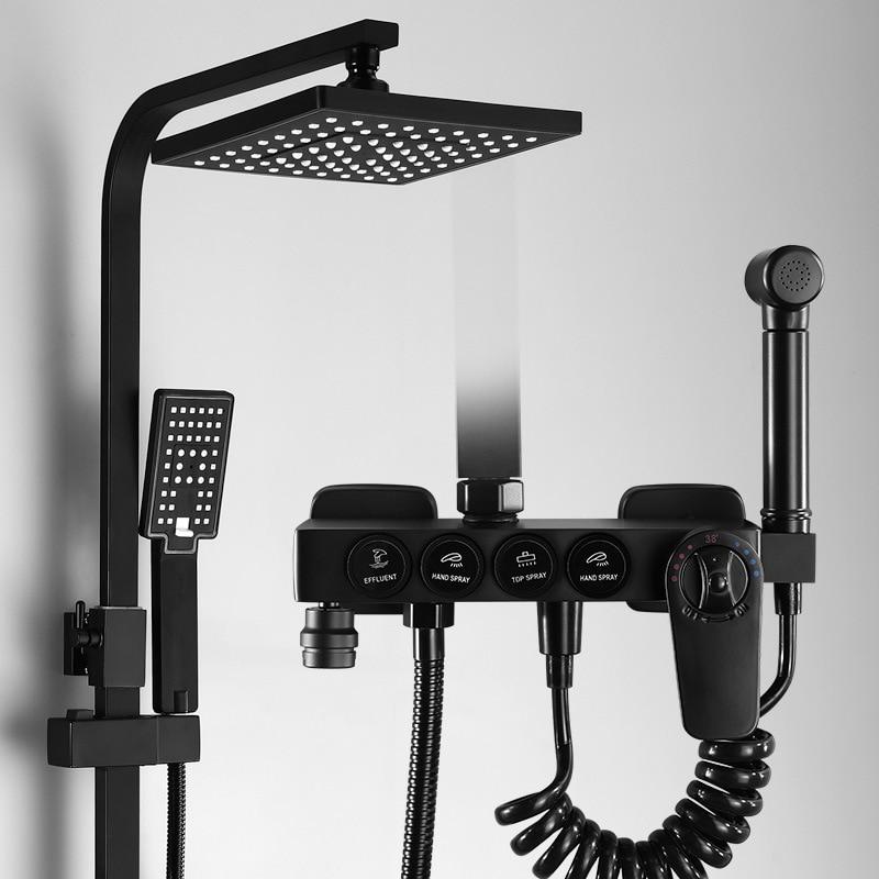 Nodic Europe Black Full-copper European Bath Shower Shower Set With Bidet Faucet Square Shower Head With Shower Rack HWY62