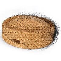 Designer Frauen Frühling Sommer Hut Modische Papier Bast Stroh Baskenmütze Lässig Elegante Damen Mesh Spleißen Formalen Hut