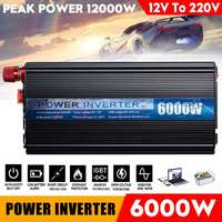 Dual USB 12000W DC 12V to AC 220V Car Power Inverter Charger Converter Adapter DC 12 to AC 220 Modified Sine Wave Transformer