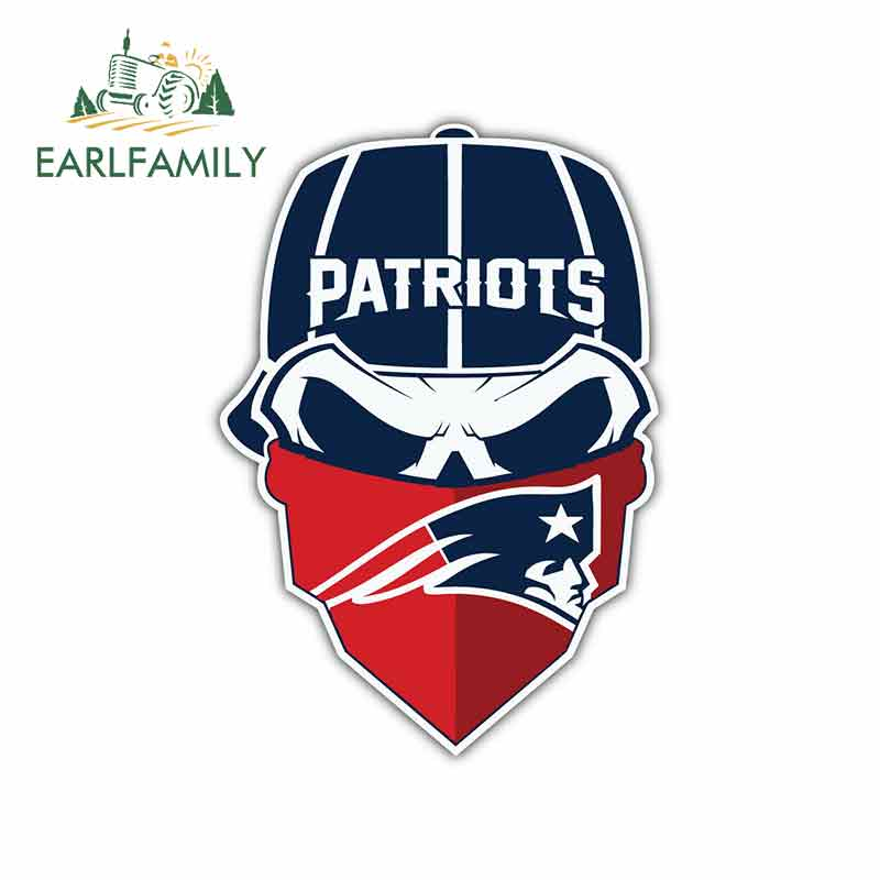 EARLFAMILY 13cm X 11.4cm For New England Patriots Car Stickers Suitable For VAN SUV Occlusion Scratch Waterproof Vinyl Material
