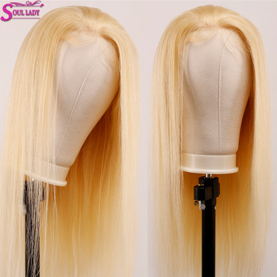 Soul Lady Platinum Blonde Glueless 13*4 Lace Front Wig 613 Frontal Wig Remy Brazilian Straight 613 Human Hair Wigs 180% Density