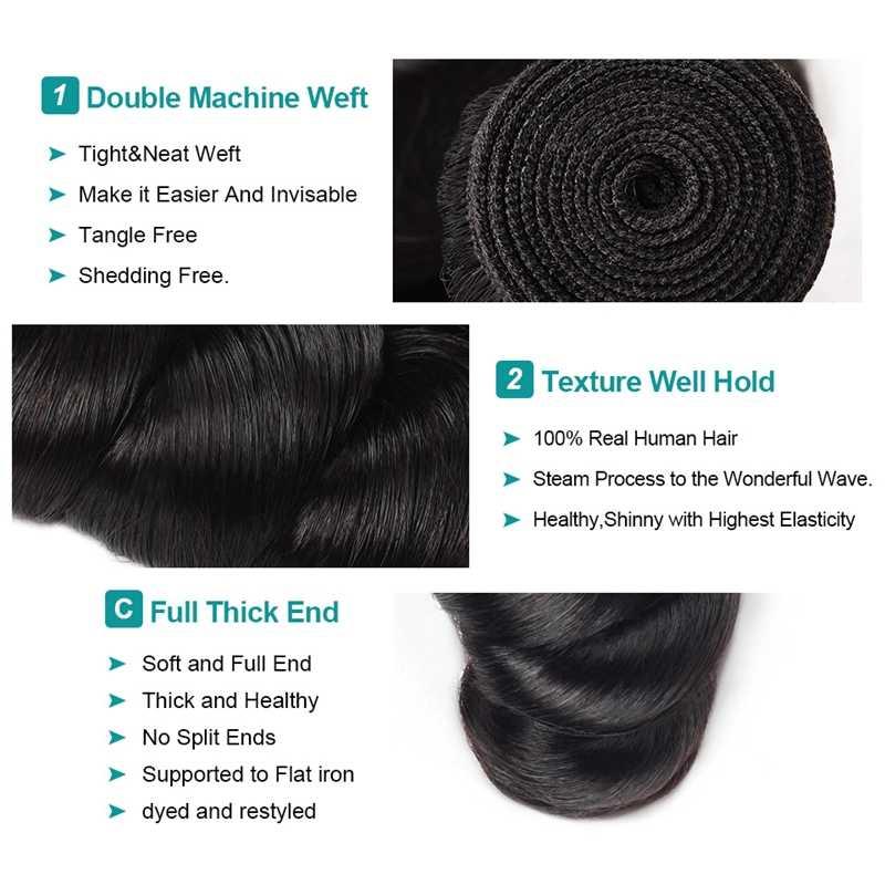Allove Losse Wave Haar Bundels Indian Haar Bundels 100% Human Hair Extensions Non-Remy Haar Kopen 3/4 Bundels Krijgen gratis Sluiting