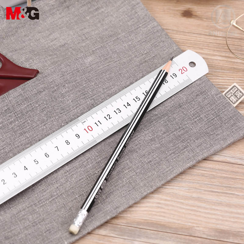 Andstal Double Scales Aluminium Metal Ruler 20cm 8inches, Centimetre And Inch, M&G School Office Scale Ruler Ruller Stationery