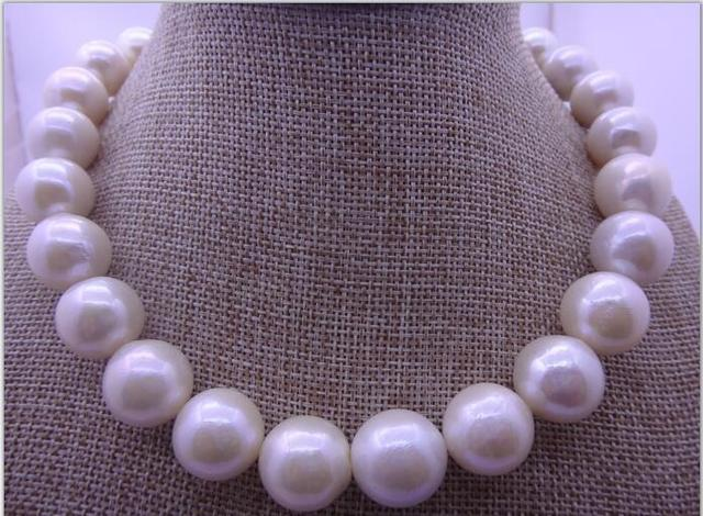 HUGE 18″14-16MM NATURAL SOUTH SEA GENUINE WHITE ROUND PEARL NECKLACE 14K