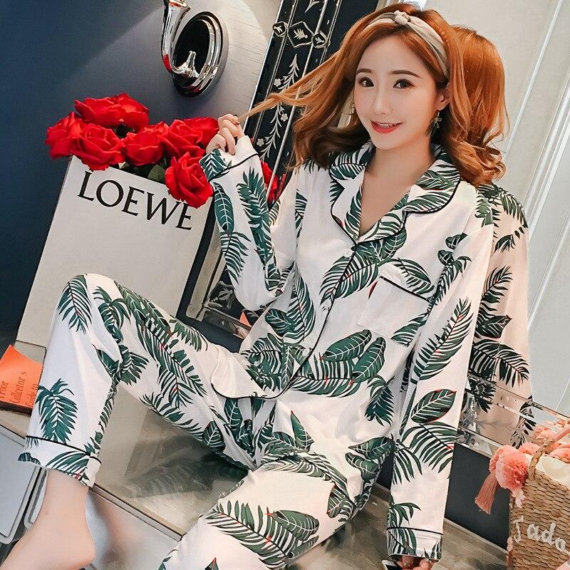 [[Jun Xin] Autumn 1019 # Cardigan Sago Cycas 200g Qmilch Long Sleeve Pajamas Suit M-XXL