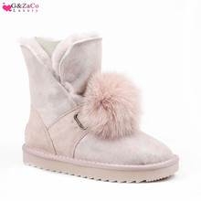 G&Zaco Sheep Leather Wool Boots Women Genuine Snow Cow Fox Ball Fur Pink Black Flat Womens Winter Warm Shoes