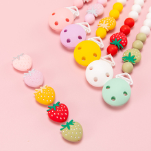 20pcs Strawberry Silicone Beads Baby Teether DIY Pacifier Chain Food Grade Perle