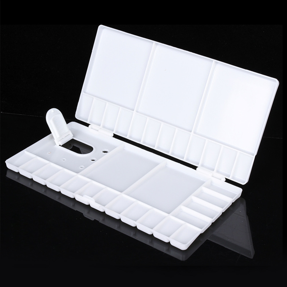 33 Grid Tray Box Paint Palette Gouache Professional Foldable Watercolor Tool White Art Supplies Artist Storage Plastic Empty