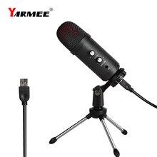 Professional USB ไมโครโฟนคอนเดนเซอร์ไมโครโฟนสำหรับแล็ปท็อปร้องเพลงคาราโอเกะสตรีมมิ่งเกม Podcast Studio ไมโครโฟน