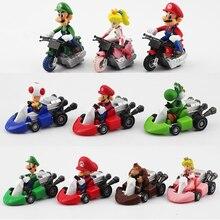 10 unids/lote de dibujos animados de Super Mario, coches de carreras, Luigi Bowser Koopa, figuras de acción, regalos para niños